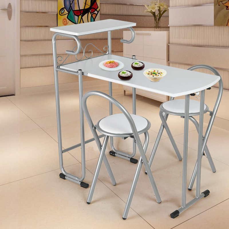 3 قطعة طوي المنزل طاولة طعام طقم كراسي المطبخ غرفة الطعام الجدول مع تخزين الرف طاولة المطبخ الكراسي