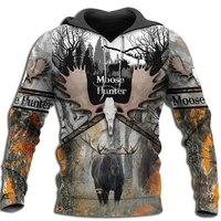 moose hunting camo 3d print men hoodiessweatshirt harajuku fashion hooded long sleeve pullovers unisex streetwear drop shipping