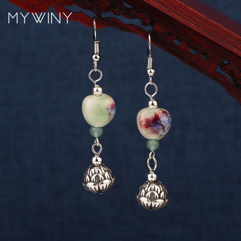 3 diseños MYWINY nuevos pendientes de cuentas de cerámica verde, pendientes de venturina étnicos vintage de moda