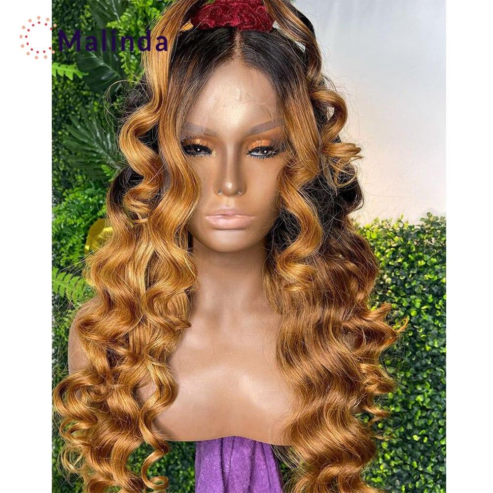 Parrucca colorata allentata a onde profonde per donne nere 1b/27 Ombre parrucche per capelli umani parte T parrucca in pizzo Pre innestata con capelli per bambini Remy
