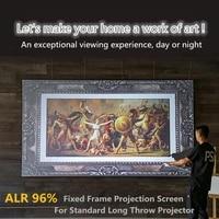 HKALRH 16 9  ecran de Projection de rejet de lumiere ambiante en cristal noir avec cadre Ultra mince pour Home Cinema et salle de reunion