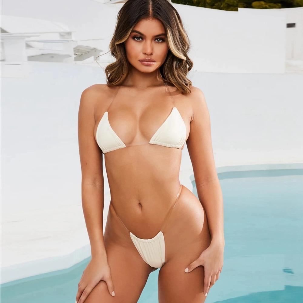 Transparent Straps Bikini 2020 Brazilian Women Micro Swimsuit Wild Bra Sexy Mini Halter Neck String Bikini Set Amazing Beachwear