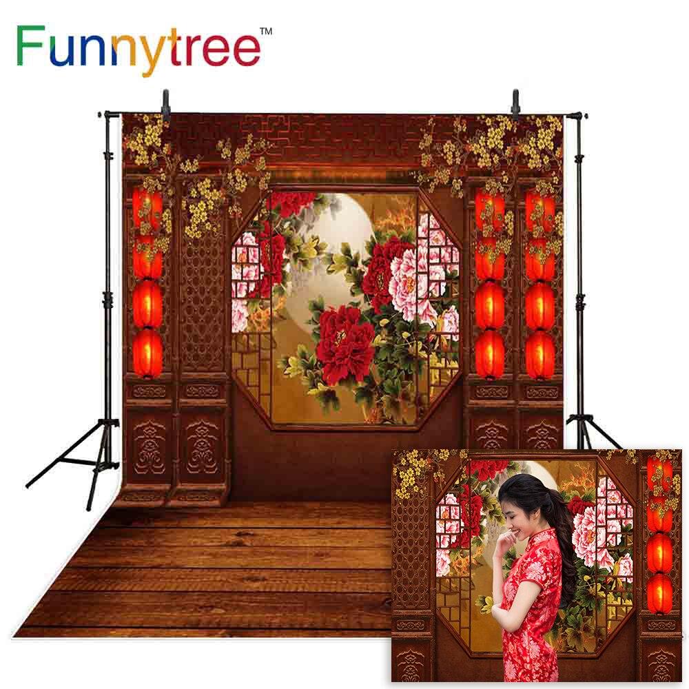 Funnytree Año Nuevo Chino fondo de flores linterna roja madera sesión fotográfica...