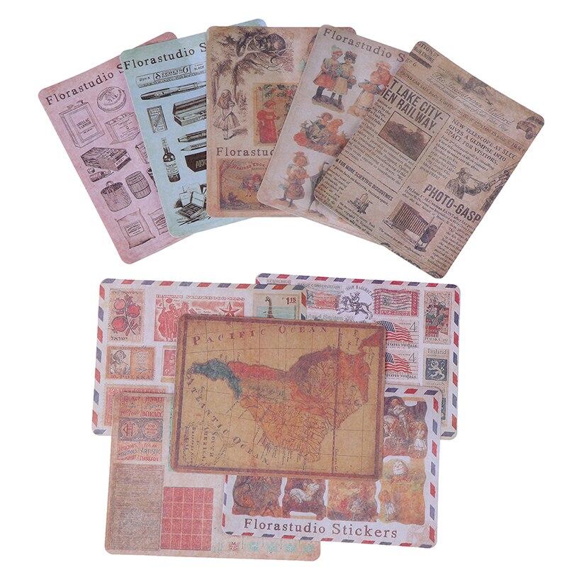 10 Sheets/Pack Vintage Kaart Poster Stempel Papier Sticker Diy Dagboek Decoratie Sticker Voor Planner Album Scrapbooking