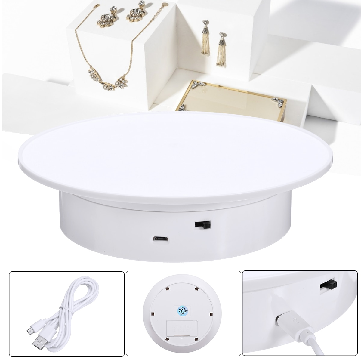 360 درجة الكهربائية الدورية الدوار حامل شاشة دوار للتصوير ساعة مجوهرات المنتج الرقمي USB بالطاقة