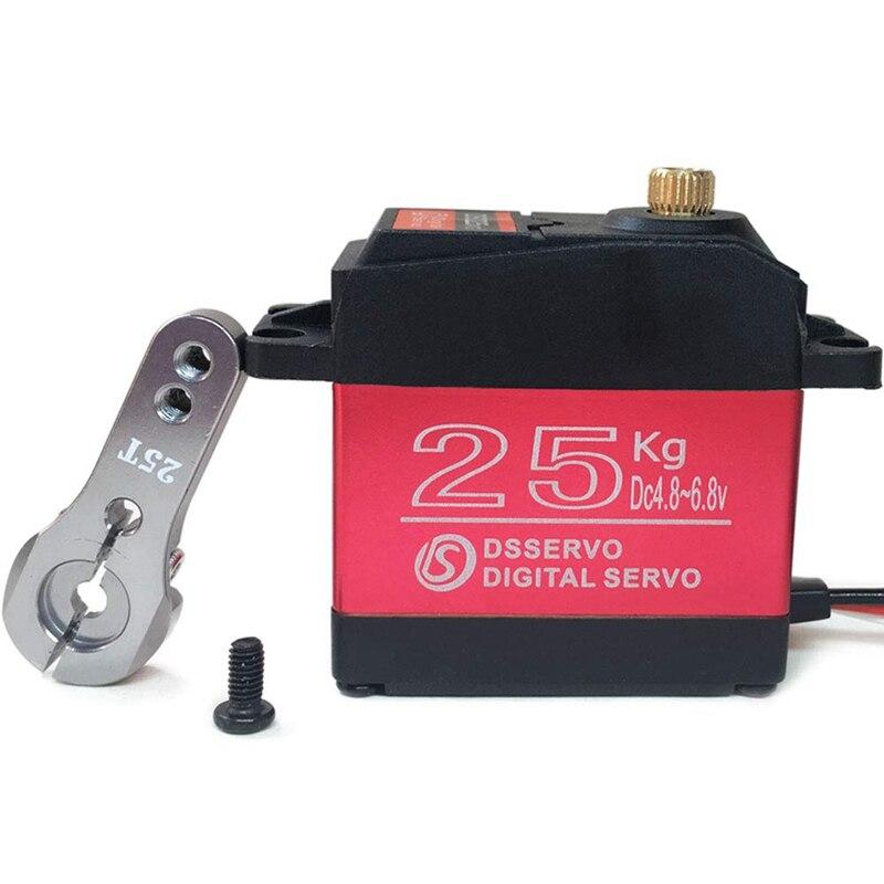 25KG Servo Digital completa engranaje de Metal alto par impermeable para coche RC Crawler Robot Control de ángulo de 270 °