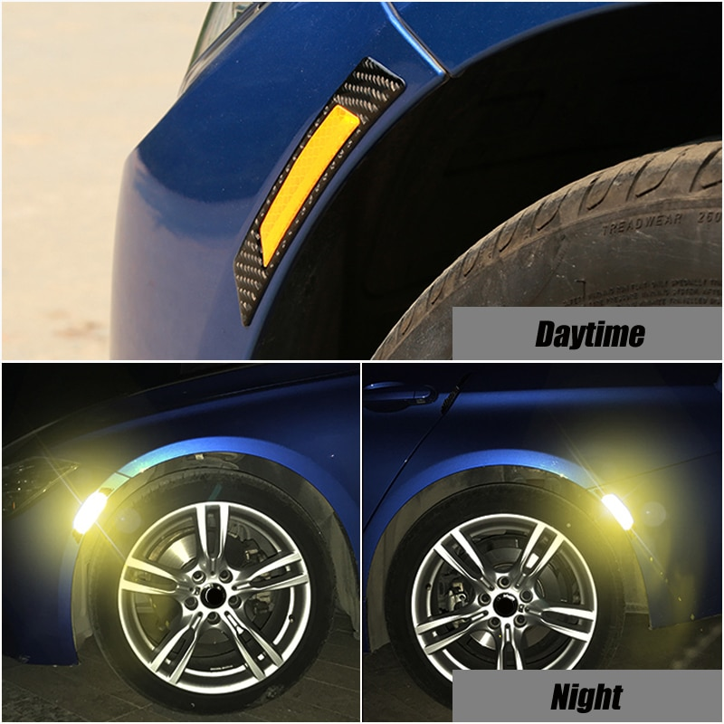 2x Car Wheel Eyebrows Reflective Stickers For BMW Volkswagen Toyota Ford Mazda Audi Warning Reflector Tape