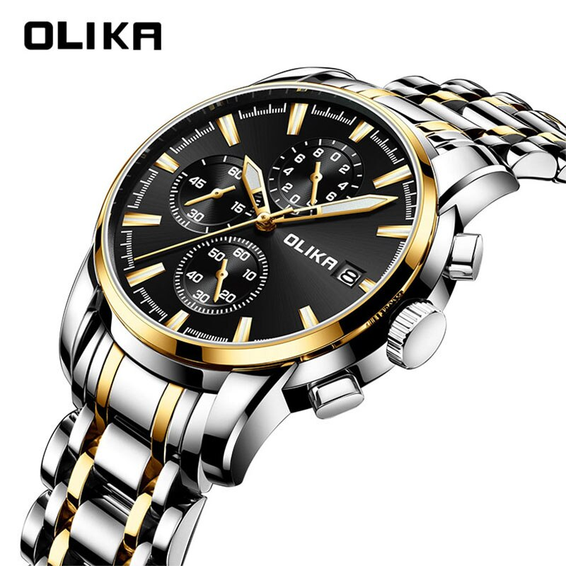 OLIKA Luxury Steel Men Quartz Watch Watch For Men Business Men Watches Luminous Waterproof Watch Men Male Watches Relogio Watch