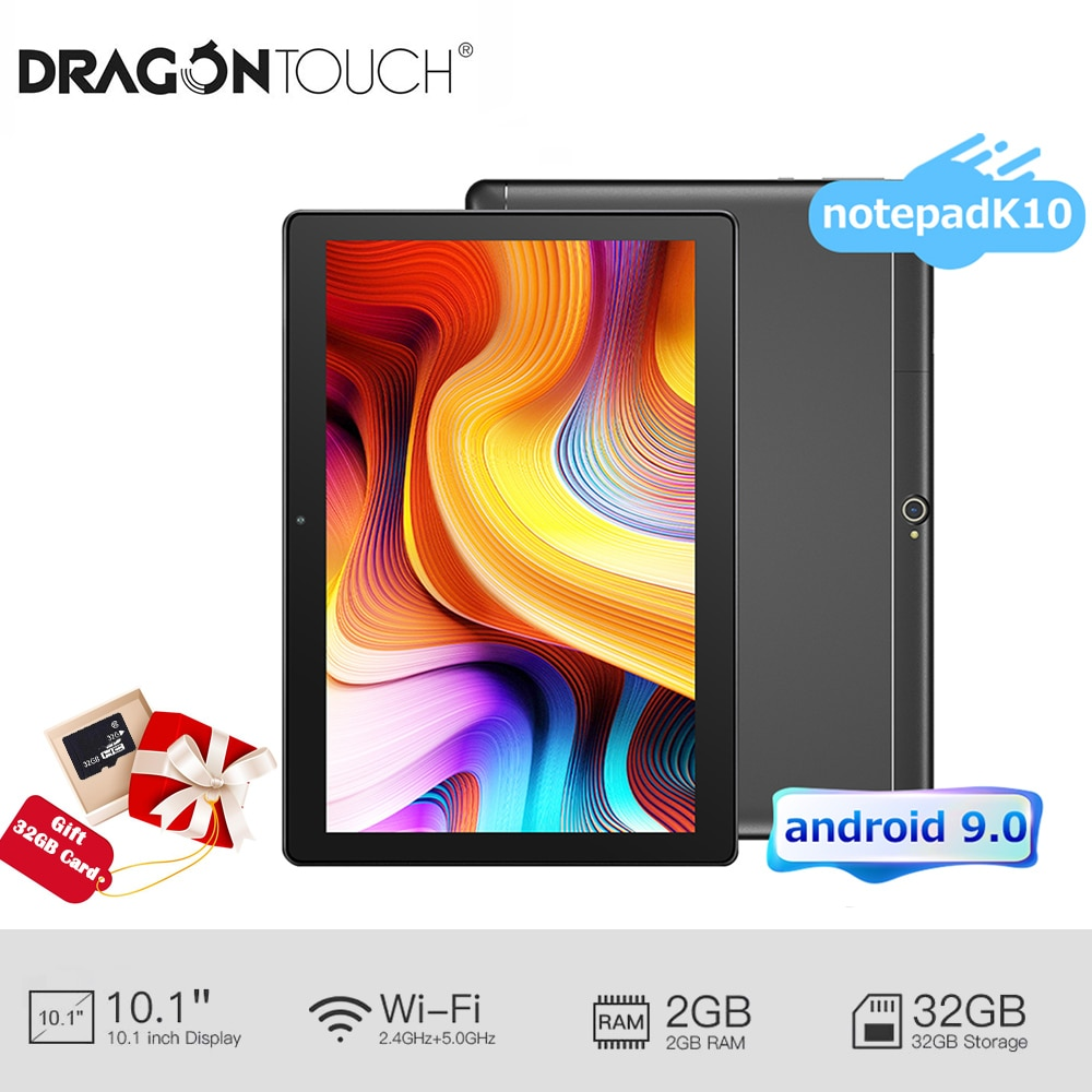 Dragon Touch 10inch Android 9.0 Cheap Tablet Notepad K10 2GB RAM 32GB ROM HD IPS Display Tablet PC 5G WiFi Touch Tablet for Kids