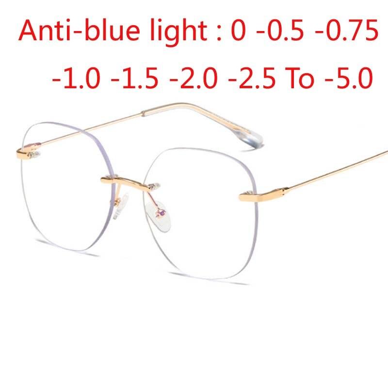 Metal Rimless Glasses Frame Women Prescription Anti-blue light Myopia Optical Oval Eyewear 0 -0.5 -1.0 -1.5 To -5.0