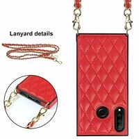 luxury fashion diagonal lanyard type leather phone case for huawei p30 lite p40 pro plus mate 20 lite mate 30 40 pro shell cover