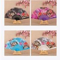 vintage folding fan style chinese gardenia flowers hand fans wedding women dance party manual fan photo props home ornaments
