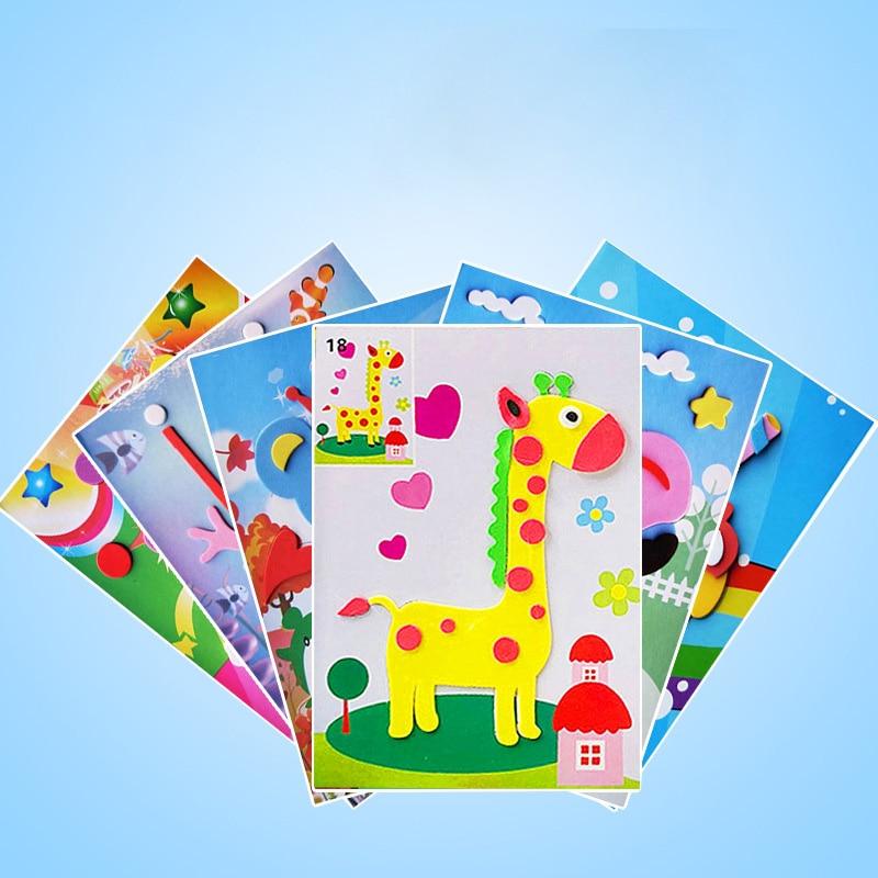 5/10pcs 3D DIY cartoon animal EVA foam sticker puzzle game learning educational toy children kids multi-mode style