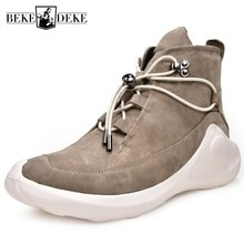 Mens Fashion Spring High Top Shoes Platform Lace Up Casual Sneakers Brand Male Joggers Cow Genuine L