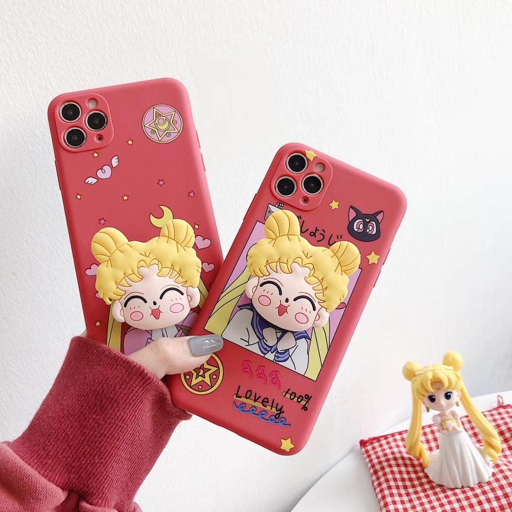 New Japanese cartoon cute Love heart Sailor Moon 3D handle bracket TPU soft cover for iphone 11Pro MAX XS XR 7 8plus phone case