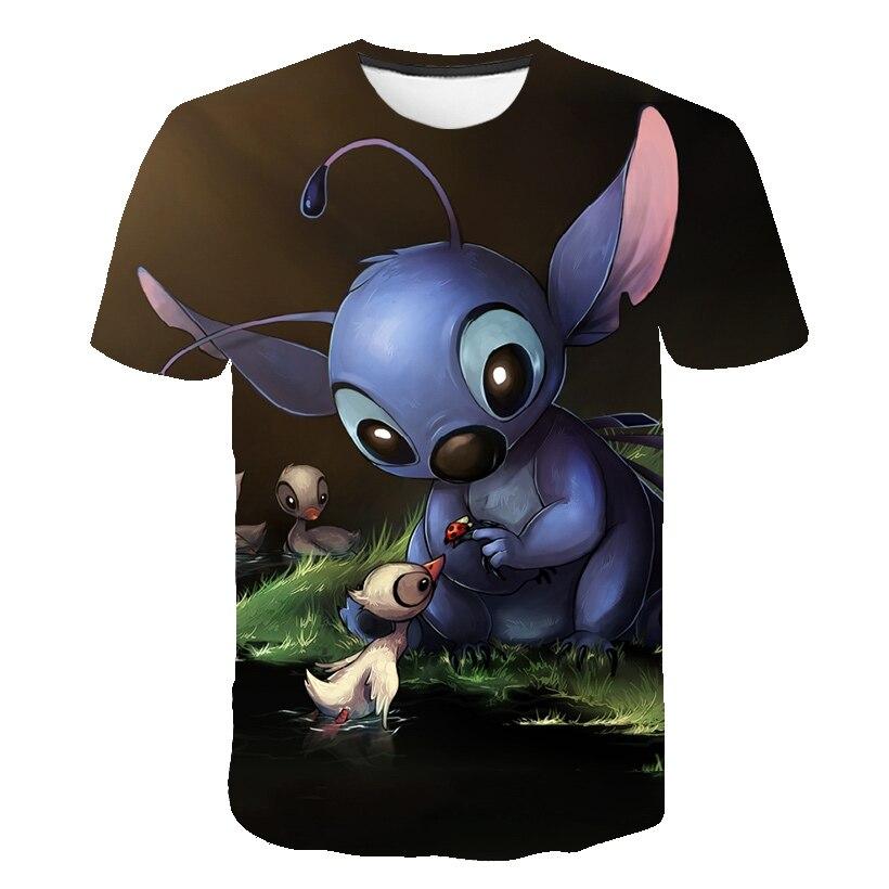 Verano Lilo Stitch Niñas Ropa 3D, Kawaii, bebé niños camiseta niños Anime ropa para niños de dibujos T shirts Casual camisetas Top