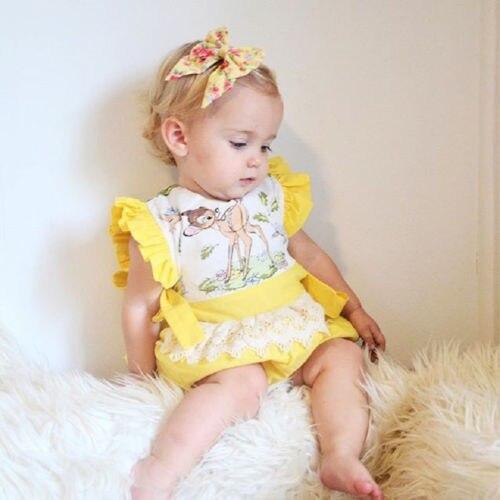 Модное Красивое боди для новорожденных девочек, Кружевное боди с оборками, боди с животными