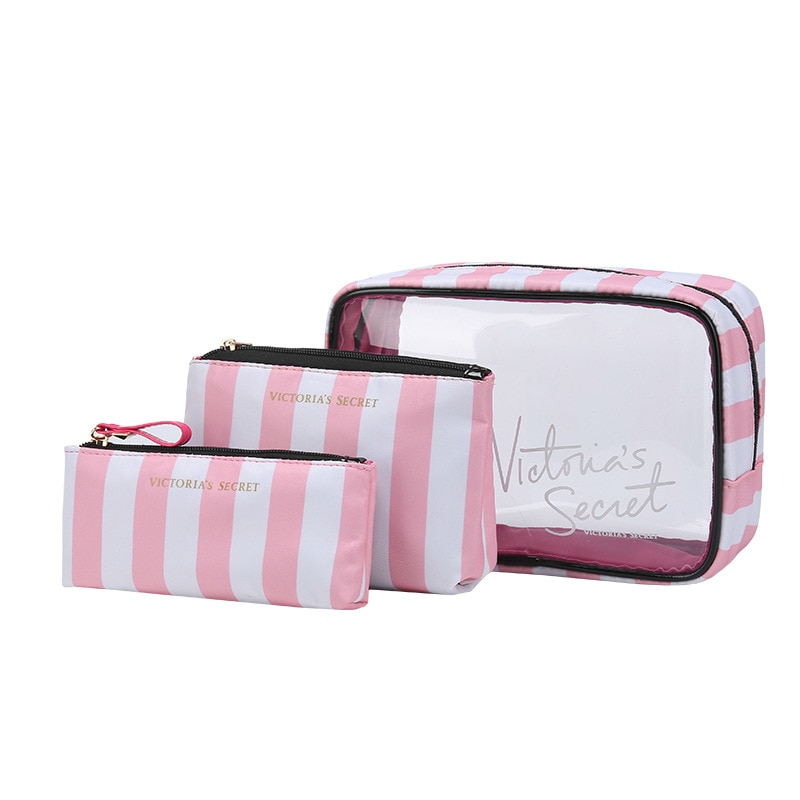 The new portable PVC cosmetic bag 3-piece set outdoor travel bag  fashion transparent storage bag waterproof wash bag