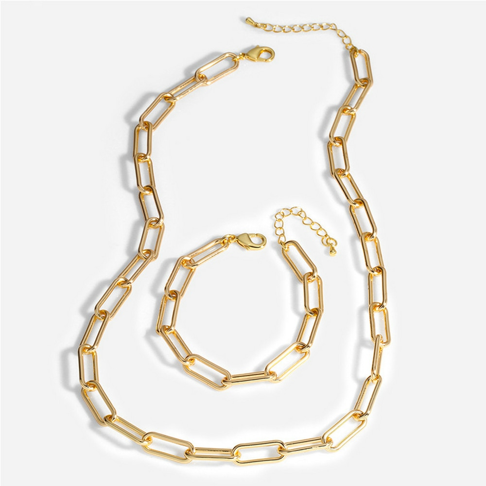 Necklace Bracelet Jewelry Sets Women Fashion Chain Gold Color Horse Whip Necklace and Bracelet Top G