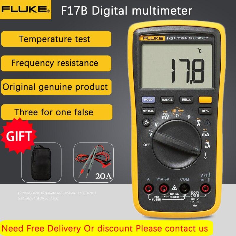 فلوك-مقياس رقمي 17B + متعدد الوظائف, جهاز فحص فولتية التيار المتردد/التيار المستمر ، السعة الكهربائية ، التيار ، المقاومة ، درجة الحرارة ، قياس ...