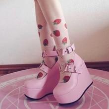 Women's Wedges Platform Mary Janes High Heel Pumps Sweet Kawaii Lolita Shoes Ankle Heart Buckle Stra