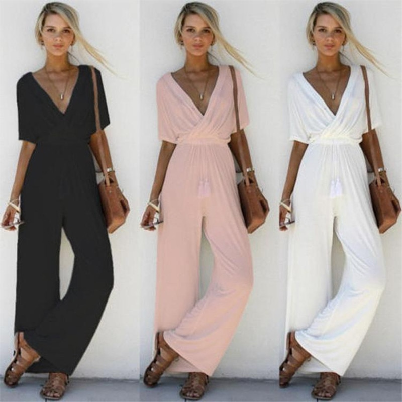 Women Summer Loose Short Sleeve Casual Jumpsuit Ladies Elegant V-Neck Fashion Clubwear Wide Leg Slim Pants Trousers