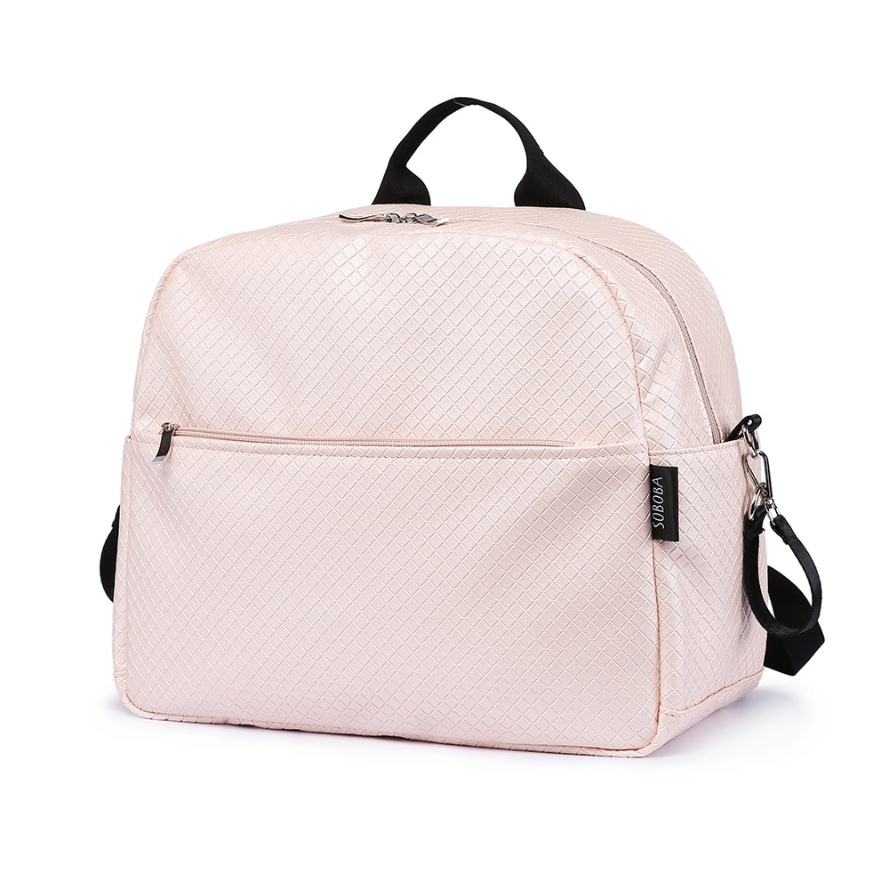 Soboba Diaper Backpack Bag for Mother Plaid Large Capacity Waterproof Pink Maternity Bag for Baby Care Multi-functional Backpack