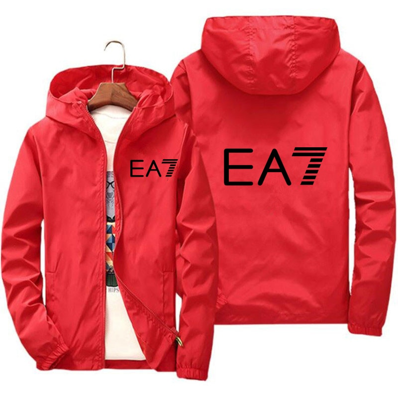 Spring and autumn new EA7 jacket mens spring fashion hooded casual thin sunscreen