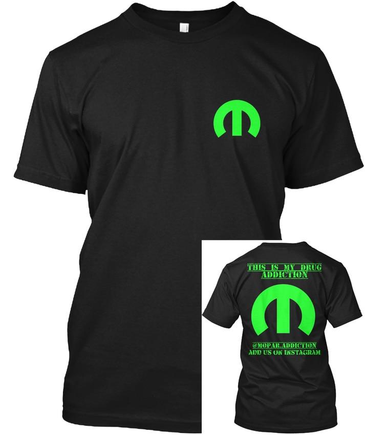 Camiseta verde popular tagless t-shirts mopar. addiction.