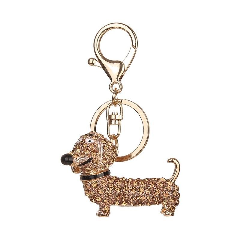 LLavero de perro salchicha con diamantes de imitación de cristal, 1 unidad, llavero para perro mascota, llavero para coche, llavero adorable, regalo de Navidad