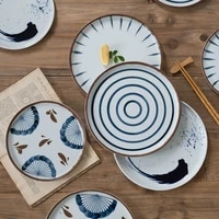 ceramic round plate creative dishes pottery nordic style hand painted plate home tableware breakfast dessert steak plate