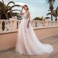 light pink wedding dresses half sleeves floral lace applique tulle long princess bridal dress bride gowns transparent