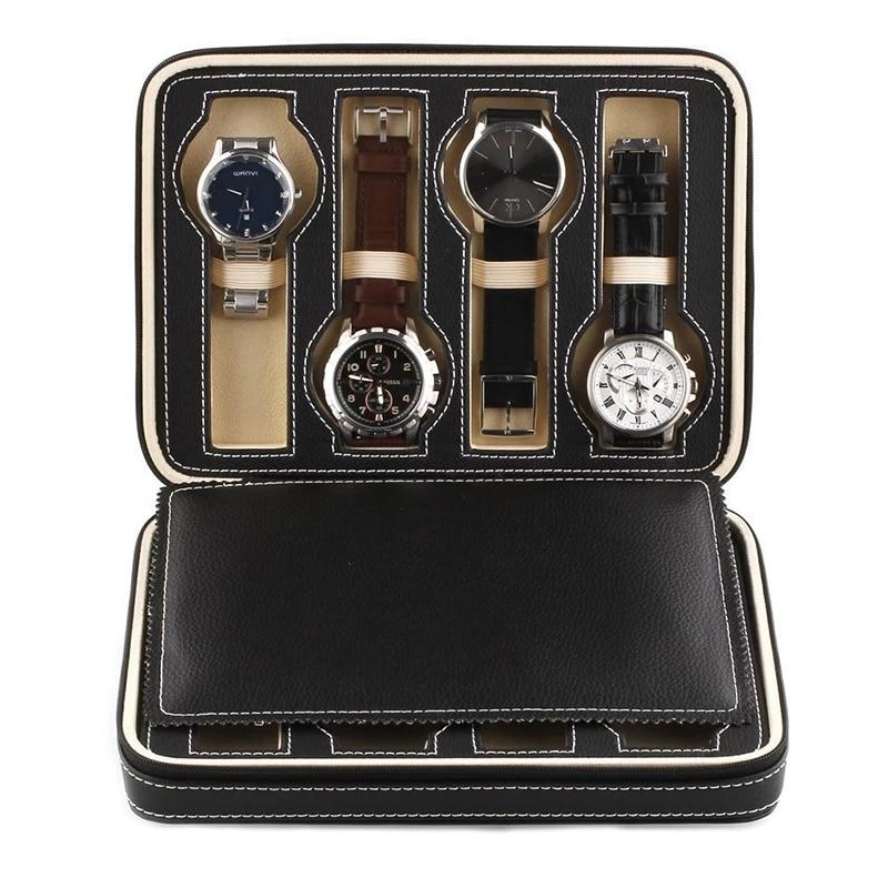 Couro do Falso Relógio de Exibição Caixa de Armazenamento Bandeja com Zíper Preto Assistir Case 4 8 Grades Viagem Relógio Coletor 2 –