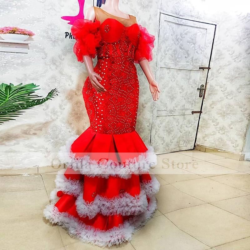 فستان حورية البحر الأفريقي Aso Ebi للحفلات الراقصة من قطعتين قابل للانفصال من الخرز واللؤلؤ والكشكشة الأكمام فستان سهرة ملابس الحفلات للنساء