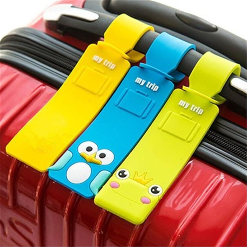Мультяшный чехол для багажника, аксессуары для путешествий, силиконовый держатель для чемодана, ID, адреса, бирки для багажа, портативная эти...