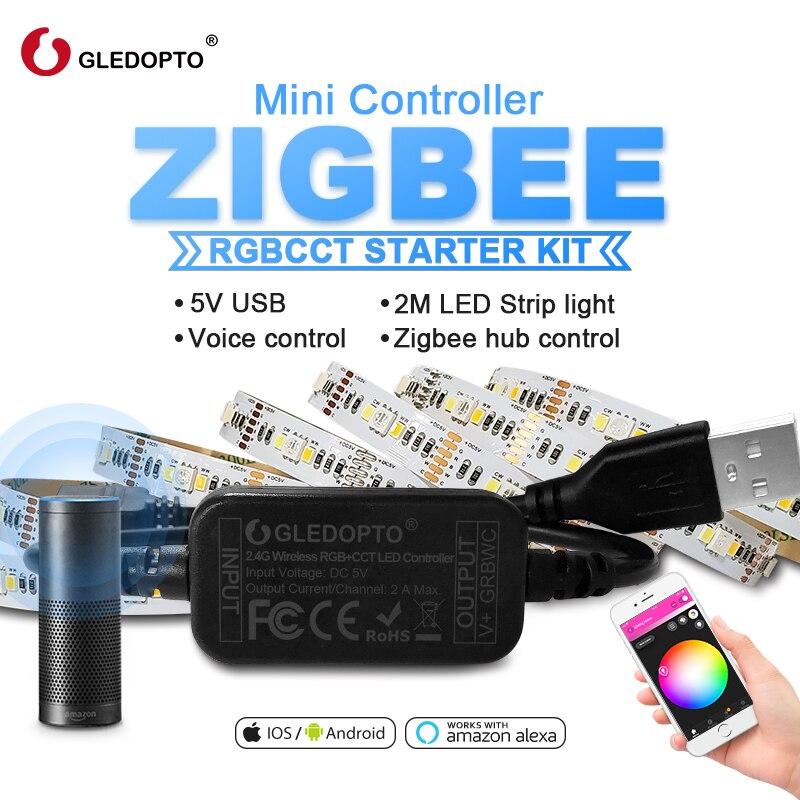 Zigbee Mini RGBCCT LED Controller WiFi APP Voice Control Smart TV LED Strip Light Kit 5V USB LED Str