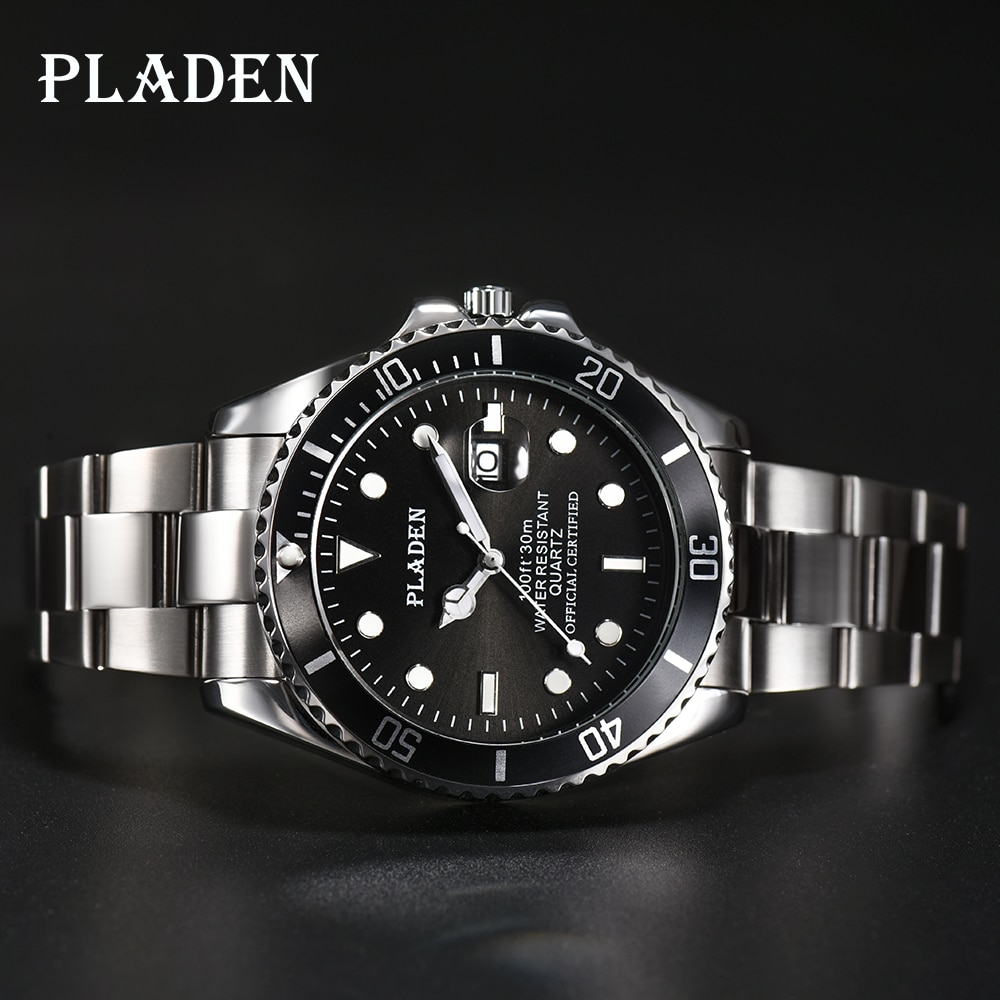 PLADEN Mens Watches Top Brand Luxury Quartz Watches Men Full Stainless Steel Clock 30M Waterproof Shockproof Sport Wrist Watch