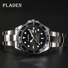 PLADEN Mens Watches Top Brand Luxury Quartz Watches Men Full Stainless Steel Clock 30M Waterproof Sh