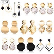 X & P Vintage métal déclaration goutte boucles doreilles pour les femmes coréen géométrique acrylique balancent suspendus boucle doreille 2020 tendance mode bijoux