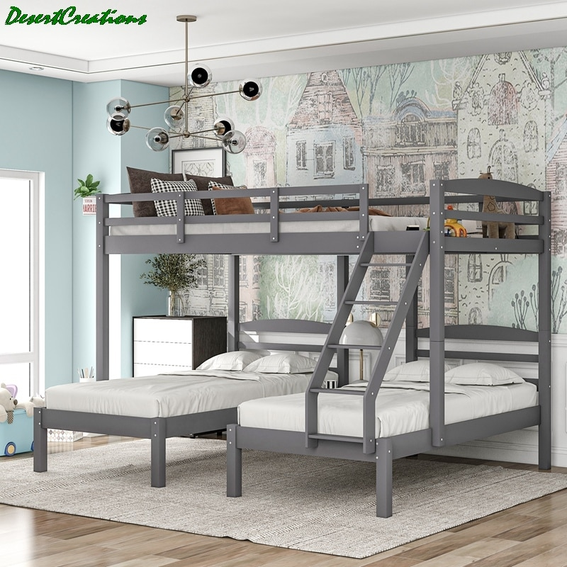 Full Over Twin & Twin Bunk Bed, Wood Triple Bunk Bed with Guardrails for Kids, Teens, Adults