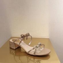 Kmeioo estate dolce bowtie sandali donna slip-on tacco grosso glitter pantofole al di fuori diapositive open toe tacchi a blocchi