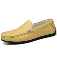 black yellow men casual shoes genuine leather simple loafers quality solid anti slip comfortable vulcanized shoes man flats