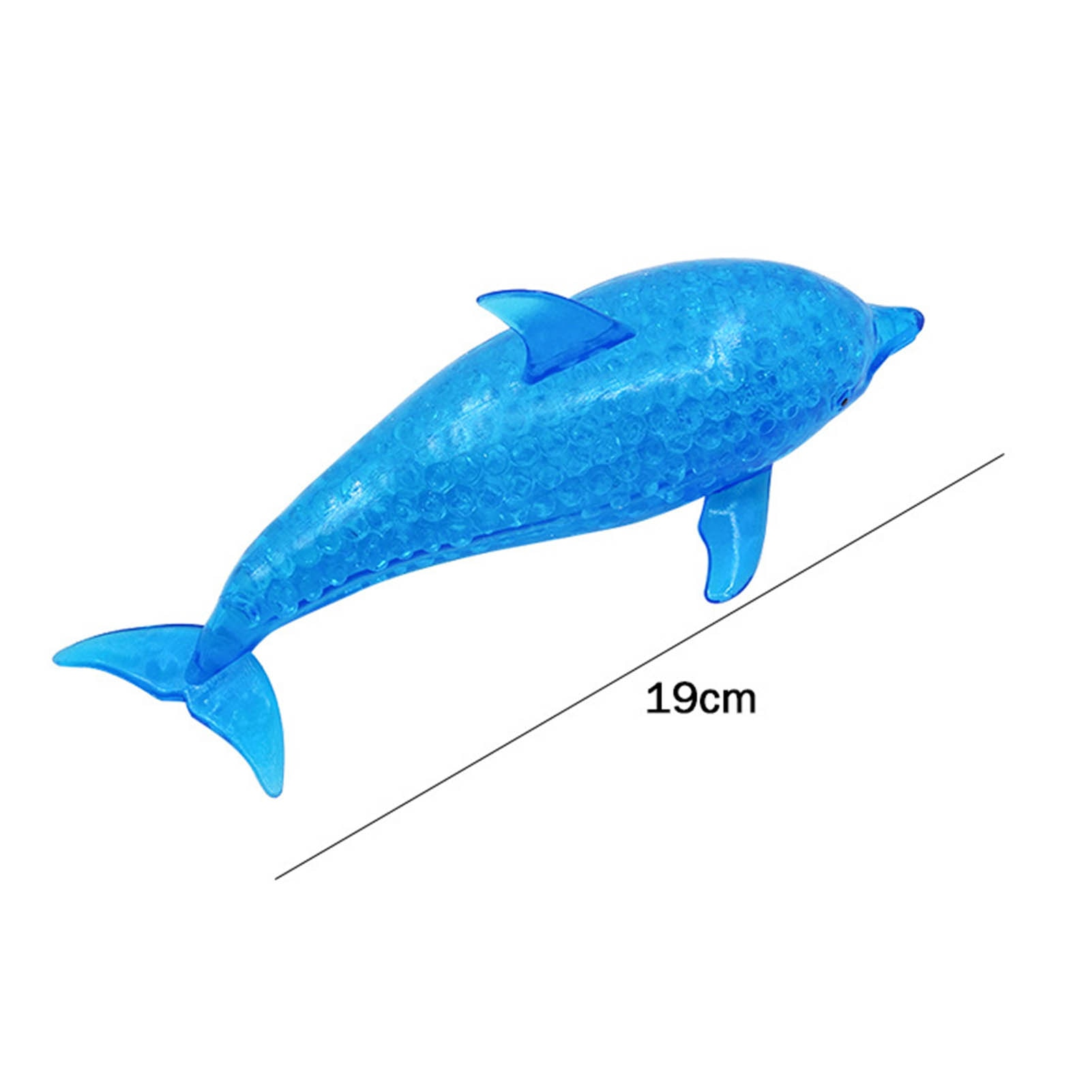 19cm Spongy Dolphin Squeeze Toys Bead Stress Ball Toy Soild Color Blue Squeezable For Adult Needs Stress Reliever Sensory Toys enlarge
