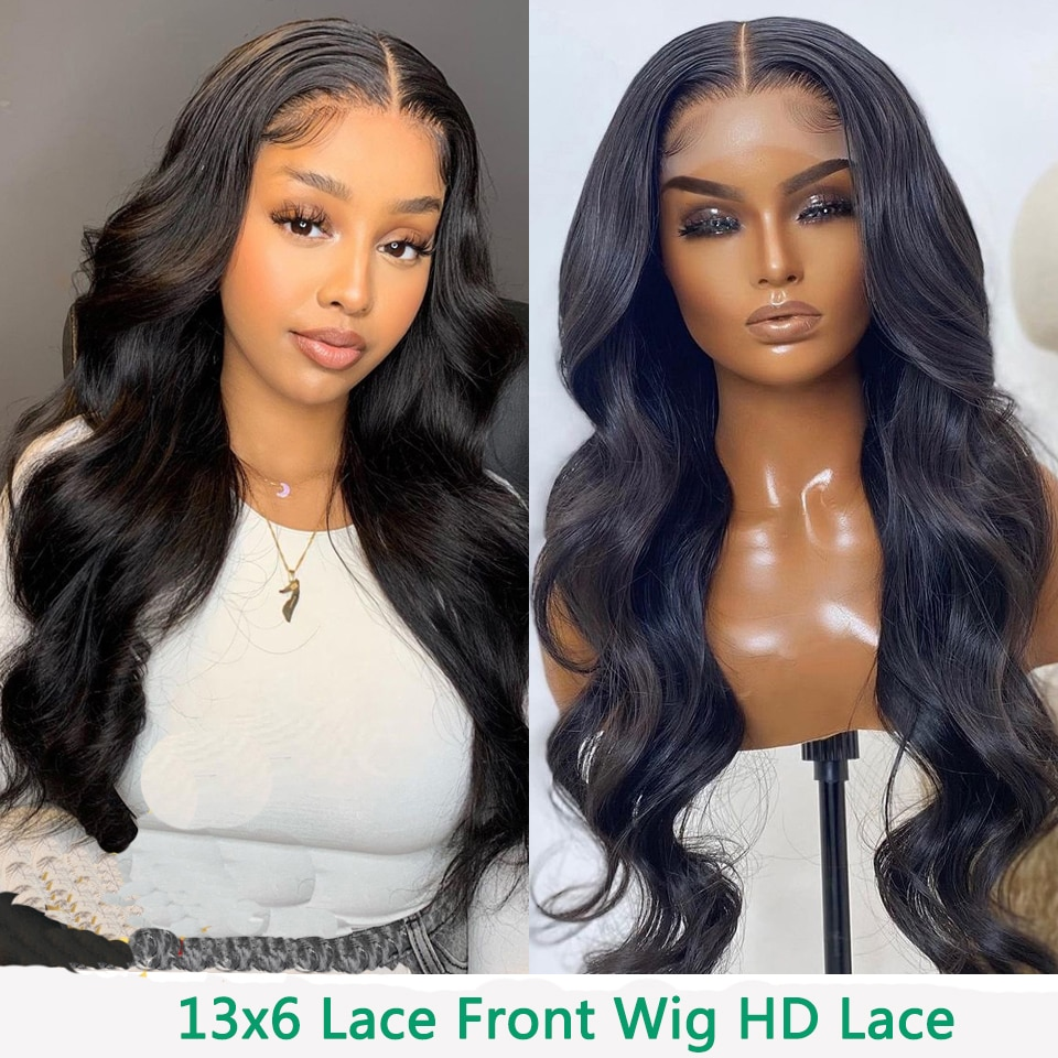 Transparent Lace Front Human Hair Wigs For Women Wavy 13x6 HD Lace Front Wigs Body Wave Human Hair Wigs 180Density FlowerSeason