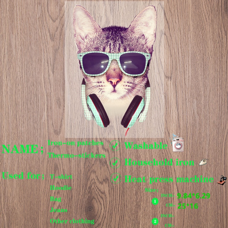 Hot Animal patch Cute Sunglasses cat Cute Sunglasses cat patches for Clothing stripes for jeans ther