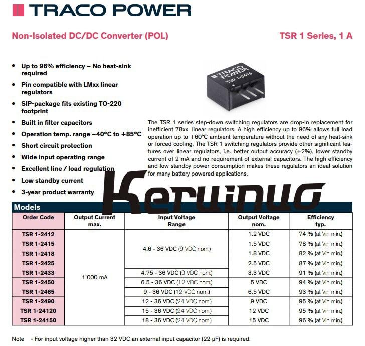 TRACO POWER 10pcs/Lot TSR1-24150 TSR 1-24150 TSR1 Non-Isolated DC/DC Converter 15V 15W