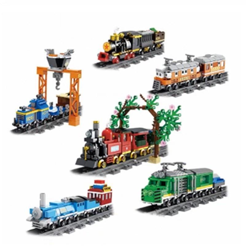 Bloques de construcción de tren de carga de vapor de alta velocidad con figuras de pistas DIY juguetes educativos para niños