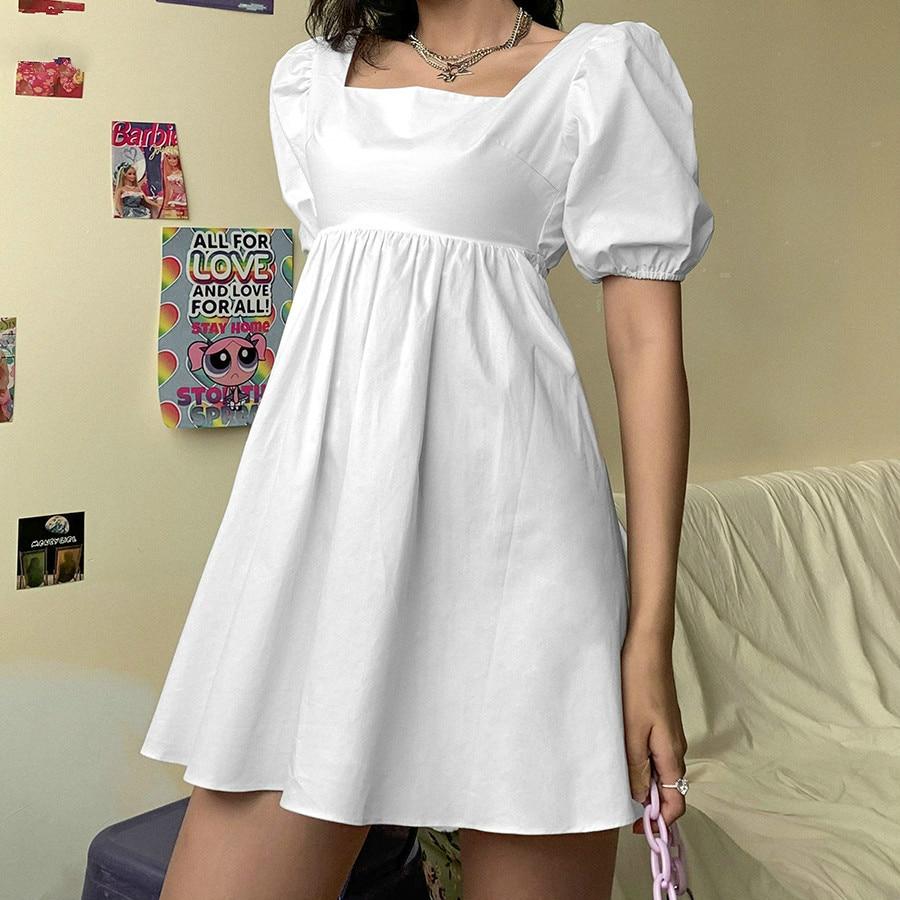 Women's Summer Fashion White Elegant Fluffy Sleeve Backless Party Beach Resort Mini Skirt baan laimai beach resort