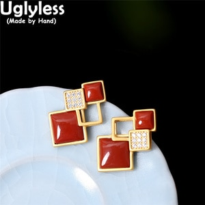 Uglyless Spliced Squares Earrings for Women Natural Agate Gemstones Studs Earrings Shinning Crystals Brincos Hollow 925 Silver