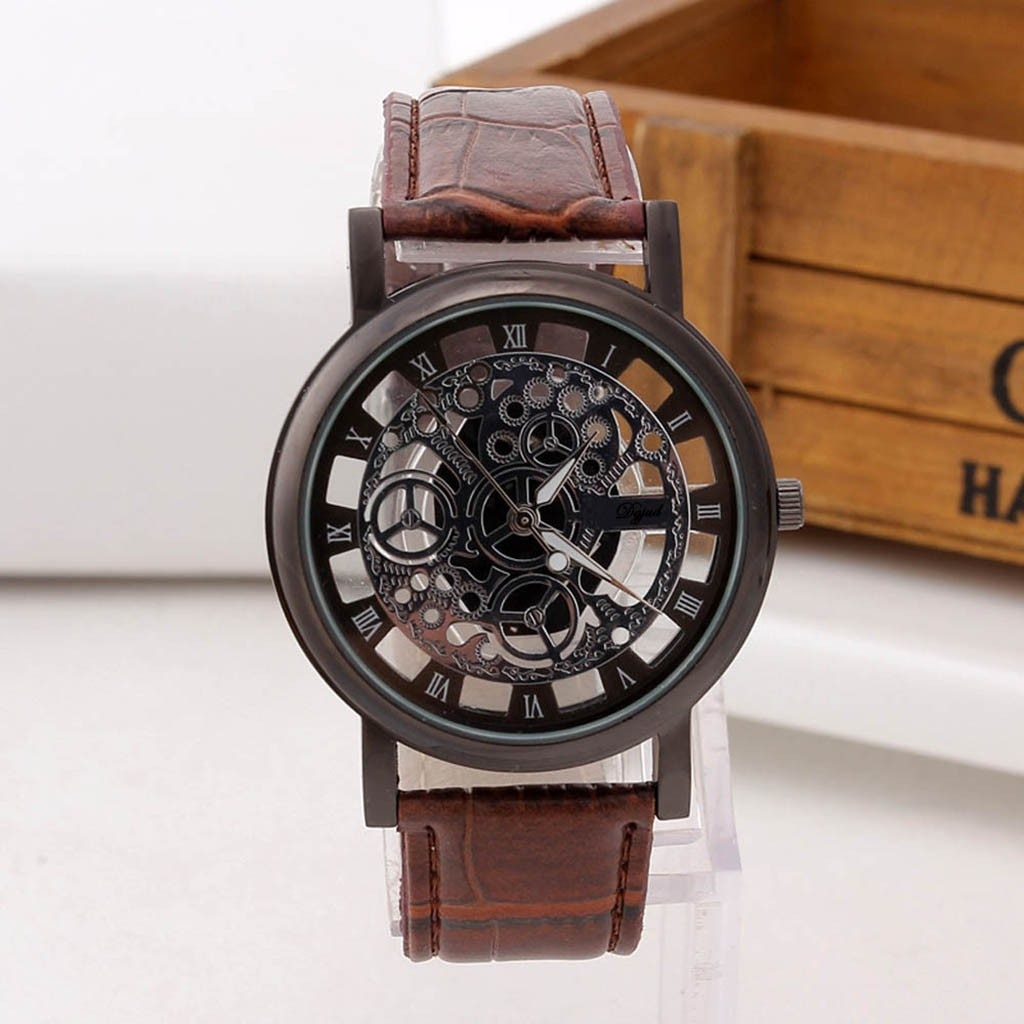 Watches Men Women Vintage Unique Hollowed-out Stainless Steel Luxury Quartz Military Sport Leather R